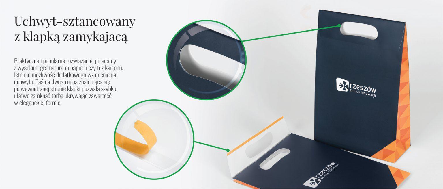 Uchwyt sztancowany z klapką jako zamknięcie toreb papierowych
